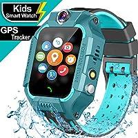 儿童防水智能手表 GPS 追踪器 - 触摸屏儿童智能手表 适合 3-12 岁男孩女孩 - SOS 呼叫*学校模式 游戏手电筒智能手机手表 生日礼物节日玩具