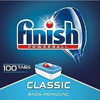 Finish Classic 洗碗机洗涤块 无磷 带有清洁球的餐具洗涤块 适用于餐具基础清洁,100片超大包装