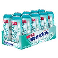 Mentos Pure Fresh Sugar-Free Chewing Gum with Xylitol, Wintergreen, Stocking Stuffer, Gift, Holiday, Christmas, 15 Piece Bottle (Pack of 10)
