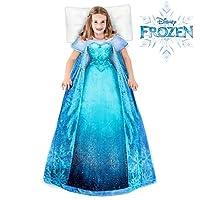 Blankie Tails Disney 艾莎冰雪奇缘儿童可穿戴毛毯超柔软双面貂皮绒 - 可机洗,里面有可爱的 Disney Princess 裙子