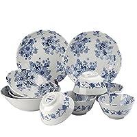 【清新素雅时尚美器】美浓烧日本进口 陶瓷餐具碗碟盘10个家用组合套装 小资情调 唐草花集系列碗碟盘子10件套