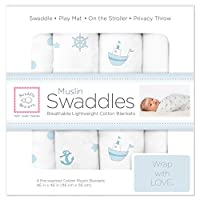 SwaddleDesigns Muslin Swaddle Blanket, Ships Ahoy!, 4 Count