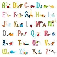 Decowall 大写字母 ABC 与图片 儿童墙贴 墙贴 即剥即贴 儿童托儿所卧室客厅 (1701/S 8023) 粉红色 Medium_1701S