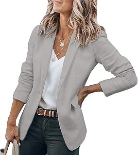 Pfvkeree 女式长袖休闲西装,前开襟工作办公室西装外套,带口袋