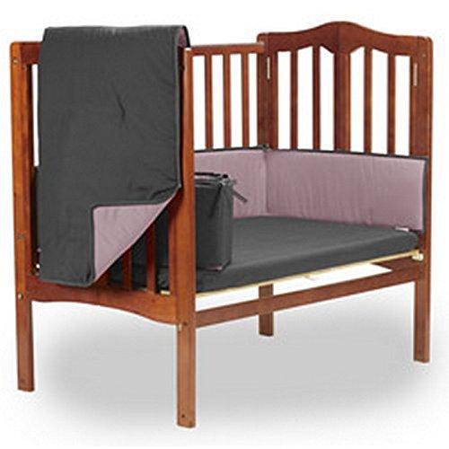 bkb両面ポータブルベビーベッド寝具セット、グレー/ピンク