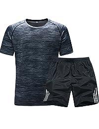 夷榀 夏季跑步运动套装男女短袖速干T恤健身服宽松夏天短裤运动衣服装