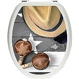 Pixxp/3D WCS 7402 32x40 静物生命 Kubazig Arren 马桶盖贴纸,WC,马桶盖,Gläzendes 材质 黑色/白色,40 x 32 厘米