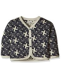 Hoppetta 两面穿的开襟羊毛衫 ネイビーx杢グレー 90
