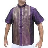 RaanPahMuang 短袖正装中国织花纹丝绸衬衫
