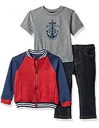 Nautica 婴儿男孩棒球夹克, T 恤和牛仔长裤套装