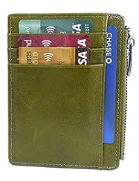 男式 RFID 前方块钱包全粒面皮革拉链口袋卡包