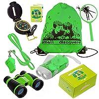 儿童探险家套装双筒望远镜手电筒罗盘放大玻璃口哨背包玩儿童露营装备教育玩具冒险徒步鸟观看礼物适合 3-12 岁男孩和女孩(*)