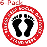 MOSA STORE Social Distancing Floor Sign - Safety Floor Sign Marker - Social Distancing Floor Decals - 27.94 cm 圆形(6 件)