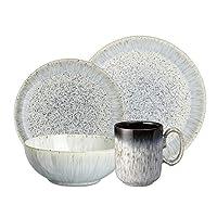 Denby USA 16 Piece Halo Kitchen Breakfast Collection Set, Speckle