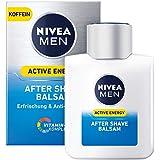 NIVEA 妮维雅 男士 Active Energy 剃须后香膏 3件装(3 x 100毫升),修复剃须后肌肤护理,咖啡因和维生素+复合