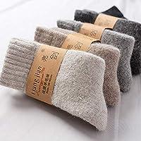【加厚羊毛袜】冬季超厚羊毛袜子 男士女士保暖毛巾袜子 加绒加厚纯色羊毛袜 (男士羊毛袜三双)