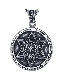 rhungift SIX STAR 不锈钢项链时尚六点星星 pagan wiccan 珠宝24'  黑色