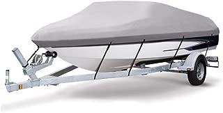 VINGLI 可拖车 Runabout 船罩 重型 600D 涤纶防水防紫外线海洋级,耐用且防撕裂,适合 17-19 英尺 V 型船体,三轮船钓鱼滑雪专业风格低音船 - 灰色
