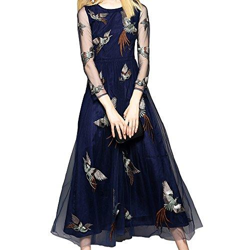 PINGORA 2019新しい女性のエレガントなヨーロピアンスタイルのスリム薄い刺繍レースのドレスの長い段落ドレスドレスドレス