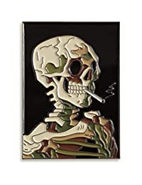 "Pinsanity Van Gogh""骷髅与燃烧的香烟""绘画珐琅翻领别针"