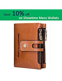 Showtime 男士钱包马隐藏皮革信用卡夹复古双折零钱包