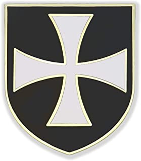 VEGASBEE 基督教*骑士队定制白色十字架黑色盾牌金色优质领针礼品盒袋