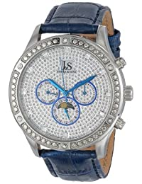 Joshua & Sons 男式 js-41-bu 闪亮机械多功能皮带手表