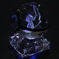 S-SO 可爱 K9 水晶球 3D 口袋妖怪 Elf 夜间卧室 LED 台桌 RGB 7 变色灯灯 Mew