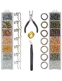 TWBOCV 耳环钩耳环制作套件,带跳环、耳环钩、钳子、镊子、跳环开瓶器、耳环制作用品套件 1610 件用于珠宝制作和维修
