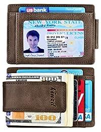 钱夹前袋钱包皮革 RFID 屏蔽 Strong Magnet 薄钱包