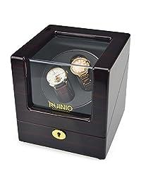 RUINIO 瑞尼欧 自动机械表上链盒 摇表器 转表器 自动上链手表盒 2表位 开盖自停功能 (外红黑条纹+内黑)