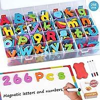 Spruce 磁性字母套装,212件 A-Z 泡沫磁性字母,字母字母字母和大号双面磁铁板和学习卡,教育冰箱磁贴 265 Pcs