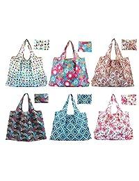 Bekith 8 个装可折叠可重复使用的杂货袋环保旅行回收袋,可水洗,耐用且轻便的购物生态包