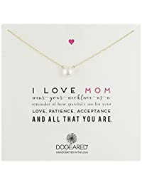 "Dogeared "" Mom "" I LOVE Mom 大号白色珍珠项链,50.8cm  金色"