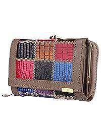 kpoint 女式钱包时尚拼接 SUPERIOR 牛皮 & 6卡支架三折钱包