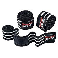 Twister Fight 护膝(一对)适用于交叉训练、健身、举重、健身和举重 - 下蹲护膝 - 男女皆宜 - 182.88 厘米压缩和弹性支撑