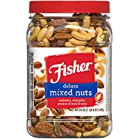 Fisher Snack 豪华混合坚果,24盎司/680克,腰果,杏仁,山核桃,巴西坚果,不含花生,天然无麸质