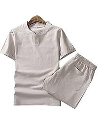 Aboselon 艾伯森朗 夏款棉麻套装男士短袖 潮流修身纯色短袖T恤套装 BQPM702