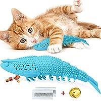 RUCACIO 猫咪咀嚼玩具互动猫薄荷玩具可填充猫粮牙刷牙齿清洁玩具龙虾形状 * 天然橡胶咬牙器