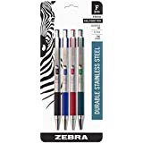 Zebra F-301 Stainless Steel Retractable Ballpoint Pen, 0.7mm, Assorted, 4 Pack (27174)