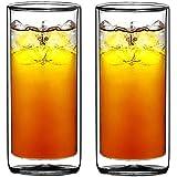 Sun's Tea(tm) 16盎司超透明强力双层绝缘保温玻璃杯 Highball 玻璃 适用于啤*/鸡尾*/柠檬/冰茶/咖啡,一套 2 件套(由真正的Borosilicate 玻璃制成,非塑料)