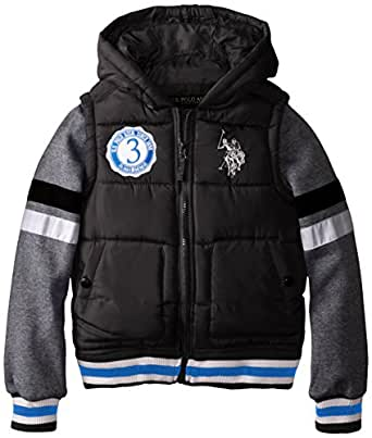 U.S. Polo Association Big Boys' Bubble Vest with Fleece Sleeves 黑色 8