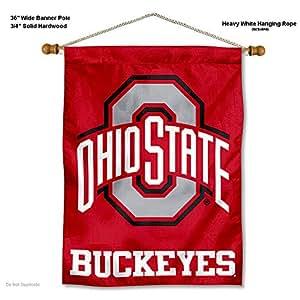 俄亥俄州立大学七叶树队猩旗帜,带悬挂杆