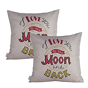 Queenie® - 2 件 All about Love 引语含义英文书写装饰枕套厚垫套 18 X 18 英寸 45 X 45 厘米 Love You To The Moon B temperory