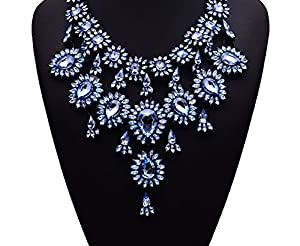 Gril Era Evening Party Luxury Colorful Rhinestone Crystal Chain Teardrop Shape Bib Temperament Necklace