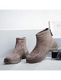 FOLOMI 高品质女鞋 袜子鞋高帮女鞋 棉短靴厚底高帮鞋 一脚蹬 休闲鞋
