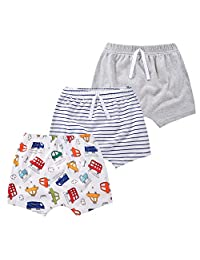 mini eggs 男婴短裤 3 条装棉质套穿裤子适合幼儿