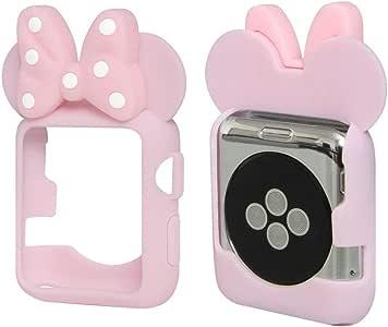 Tech Express 3D 鼠标耳朵卡通人物手机壳圆点蝴蝶结角落和边缘适用于 Apple Watch [iWatch] 38mm 和 42mm 系列 1、2、3 和 4 彩色弹性 TPU 外壳配件 44mm 粉红色