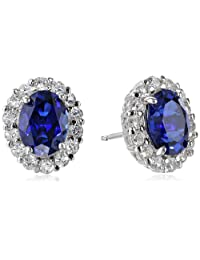 Amazon Collection 美国亚马逊自有品牌 纯银人造蓝白蓝宝石椭圆形 女士耳钉