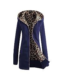 巴黎 Hill 女式拉链休闲连帽豹纹羊毛衬里运动衫夹克